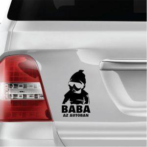 Baba az autóban matrica